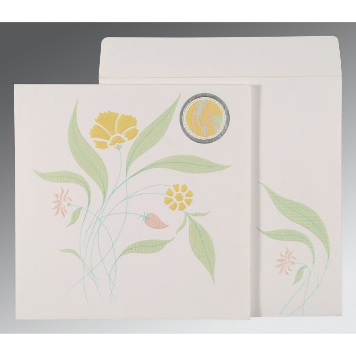 OFF-WHITE MATTE FLORAL THEMED - EMBOSSED WEDDING INVITATION : CRU-1114 - IndianWeddingCards