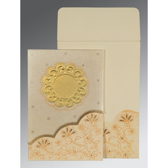 BEIGE MATTE FLORAL THEMED - SCREEN PRINTED WEDDING CARD : CS-1183 - IndianWeddingCards