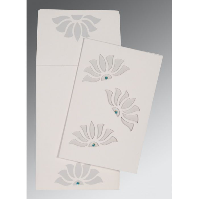 OFF-WHITE MATTE FLORAL THEMED - SCREEN PRINTED WEDDING INVITATION : CW-1254 - IndianWeddingCards