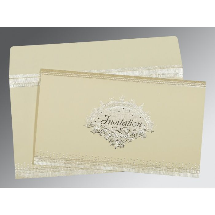 OFF-WHITE MATTE FOIL STAMPED WEDDING INVITATION : D-1338 - 123WeddingCards