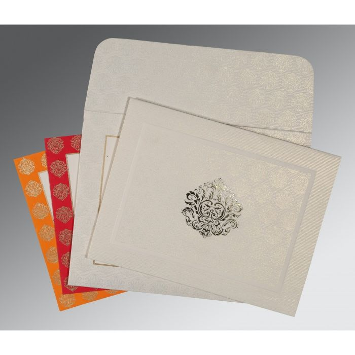 WHITE MATTE FOIL STAMPED WEDDING CARD : CI-1502 - IndianWeddingCards