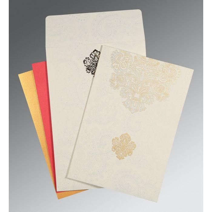 WHITE MATTE PAISLEY THEMED - SCREEN PRINTED WEDDING INVITATION : C-1508 - 123WeddingCards