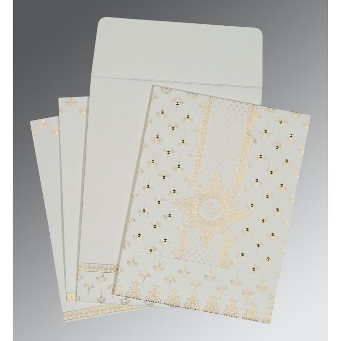 OFF-WHITE MATTE SCREEN PRINTED WEDDING INVITATION : CS-8247M - IndianWeddingCards