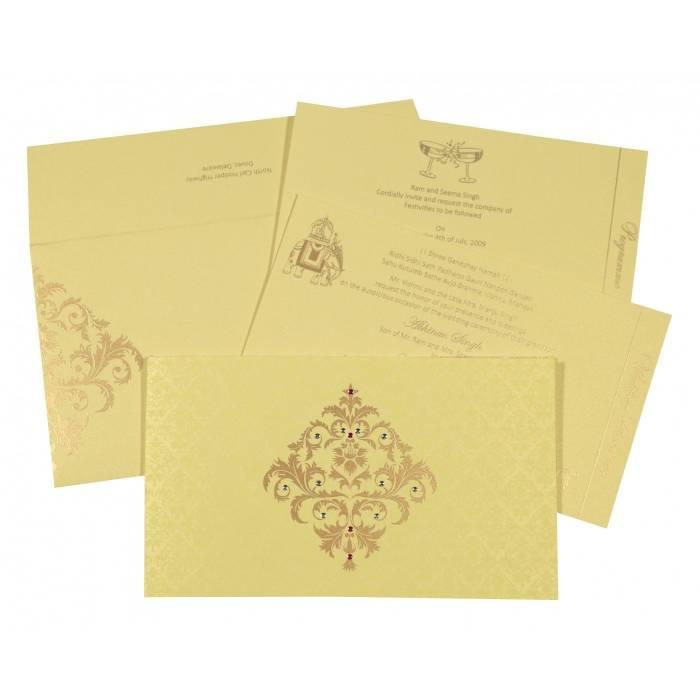 KHAKI SHIMMERY DAMASK THEMED - SCREEN PRINTED WEDDING CARD : SO-8257B - 123WeddingCards