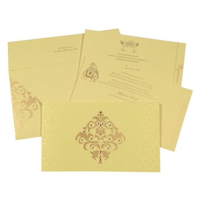 KHAKI SHIMMERY DAMASK THEMED - SCREEN PRINTED WEDDING CARD : W-8257B - 123WeddingCards
