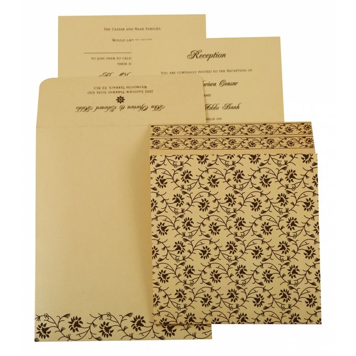 IVORY SHIMMERY FLORAL THEMED - SCREEN PRINTED WEDDING INVITATION : D-822B - 123WeddingCards