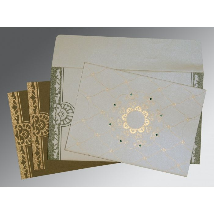 OFF-WHITE SHIMMERY FLORAL THEMED - SCREEN PRINTED WEDDING CARD : I-8227F - 123WeddingCards