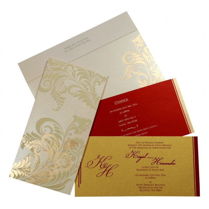 IVORY SHIMMERY FLORAL THEMED - SCREEN PRINTED WEDDING CARD : CI-8259A - IndianWeddingCards