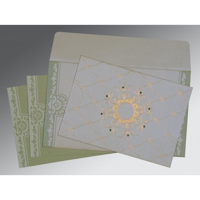OFF-WHITE SHIMMERY FLORAL THEMED - SCREEN PRINTED WEDDING CARD : CRU-8227J - IndianWeddingCards