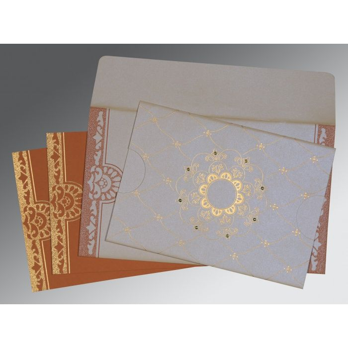 OFF-WHITE SHIMMERY FLORAL THEMED - SCREEN PRINTED WEDDING CARD : RU-8227L - 123WeddingCards