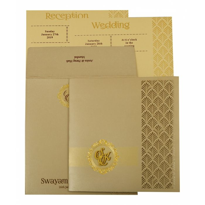 IVORY SHIMMERY PAISLEY THEMED - LASER CUT WEDDING INVITATION : D-1929 - 123WeddingCards