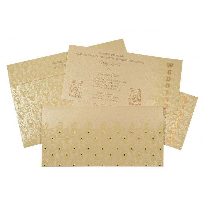 BEIGE GOLD SHIMMERY PEACOCK THEMED - SCREEN PRINTED WEDDING INVITATION : CW-8256B - IndianWeddingCards