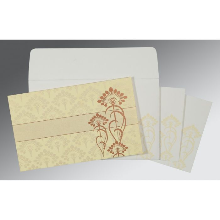 CREAM SHIMMERY SCREEN PRINTED WEDDING CARD : I-8239I - 123WeddingCards