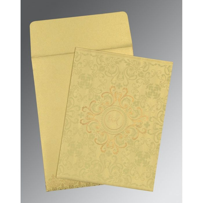 STRAW YELLOW SHIMMERY SCREEN PRINTED WEDDING CARD : CIN-8244J - IndianWeddingCards