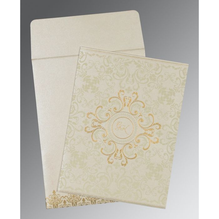 OFF-WHITE SHIMMERY SCREEN PRINTED WEDDING CARD : CS-8244B - IndianWeddingCards