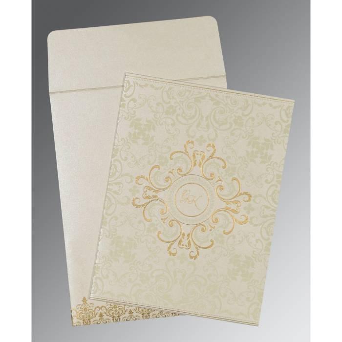OFF-WHITE SHIMMERY SCREEN PRINTED WEDDING CARD : SO-8244B - 123WeddingCards