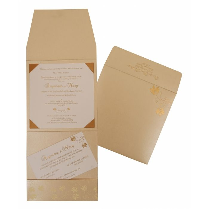 BEIGE SHIMMERY SCREEN PRINTED WEDDING INVITATION : W-803E - 123WeddingCards
