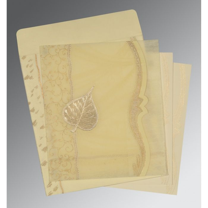 BEIGE SHIMMERY EMBOSSED WEDDING CARD : CD-8210C - IndianWeddingCards
