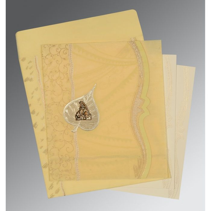 MUSTARD YELLOW SHIMMERY EMBOSSED WEDDING CARD : G-8210G - 123WeddingCards