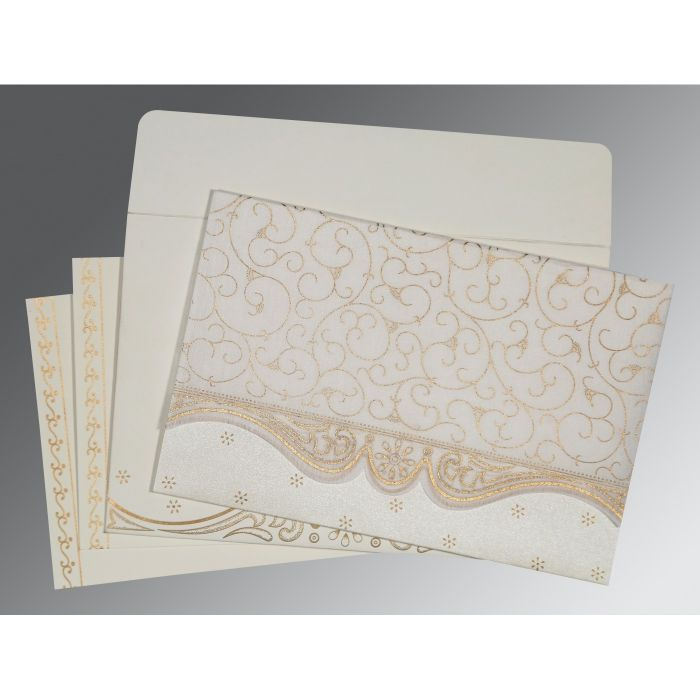 OFF-WHITE MATTE EMBOSSED WEDDING INVITATION : CI-8221G - IndianWeddingCards