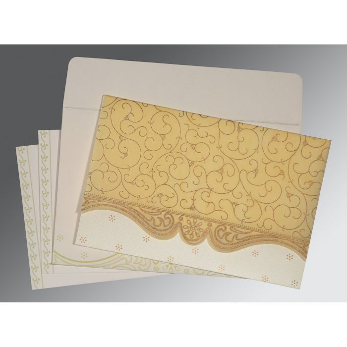 MUSTARD YELLOW MATTE EMBOSSED WEDDING INVITATION : CS-8221K - IndianWeddingCards