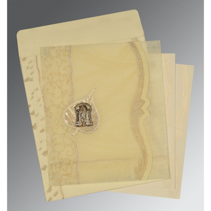 BEIGE SHIMMERY EMBOSSED WEDDING CARD : CSO-8210C - IndianWeddingCards