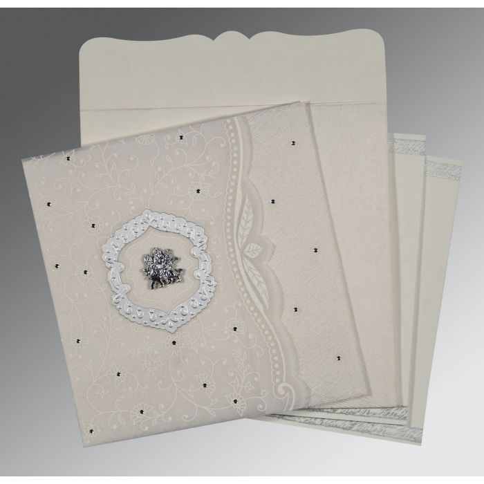 PEARL SHIMMERY FLORAL THEMED - EMBOSSED WEDDING CARD : G-8209N - 123WeddingCards