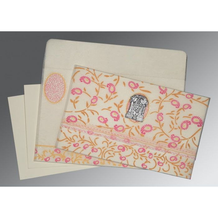 OFF-WHITE WOOLY FLORAL THEMED - GLITTER WEDDING CARD : CSO-8206F - IndianWeddingCards