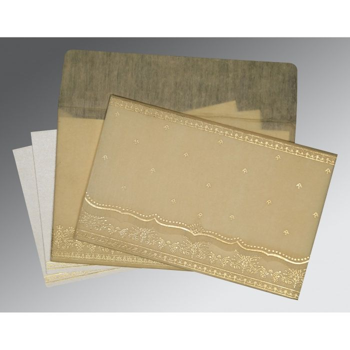 BEIGE WOOLY FOIL STAMPED WEDDING INVITATION : S-8241F - 123WeddingCards