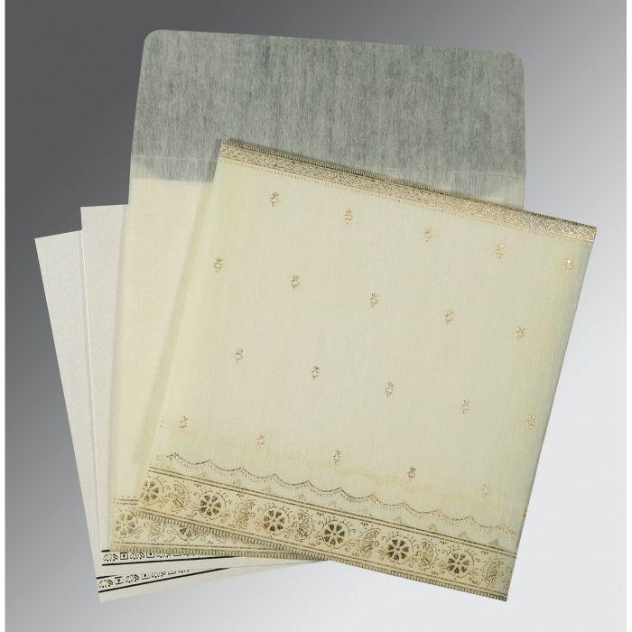 IVORY WOOLY FOIL STAMPED WEDDING CARD : CS-8242M - IndianWeddingCards