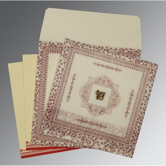 BEIGE WOOLY GLITTER WEDDING CARD : CS-8205E - IndianWeddingCards