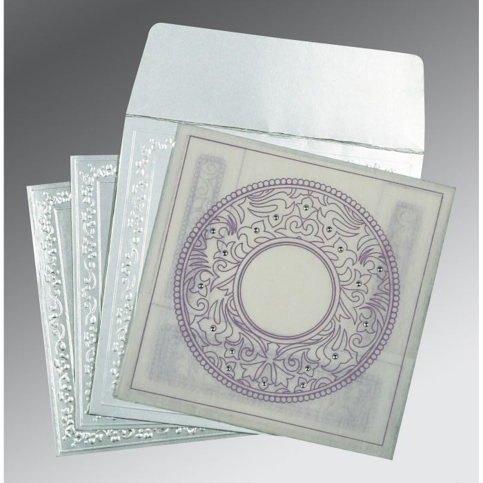 WHITE WOOLY SCREEN PRINTED WEDDING CARD : CD-8214J - IndianWeddingCards