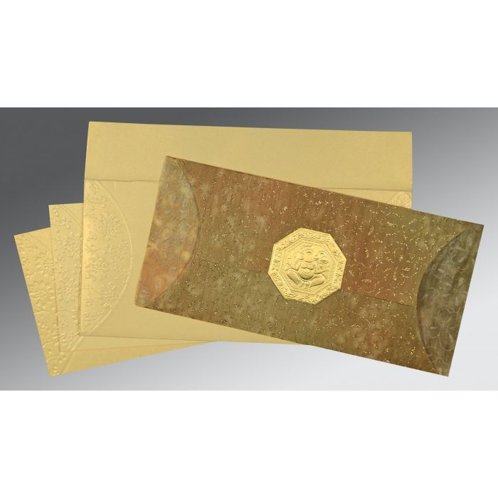 GOLD WOOLY EMBOSSED WEDDING INVITATION : CW-1391 - IndianWeddingCards