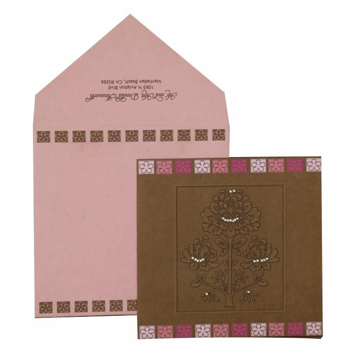 KHAKI HANDMADE COTTON FLORAL THEMED - EMBOSSED WEDDING INVITATION : G-832 - 123WeddingCards
