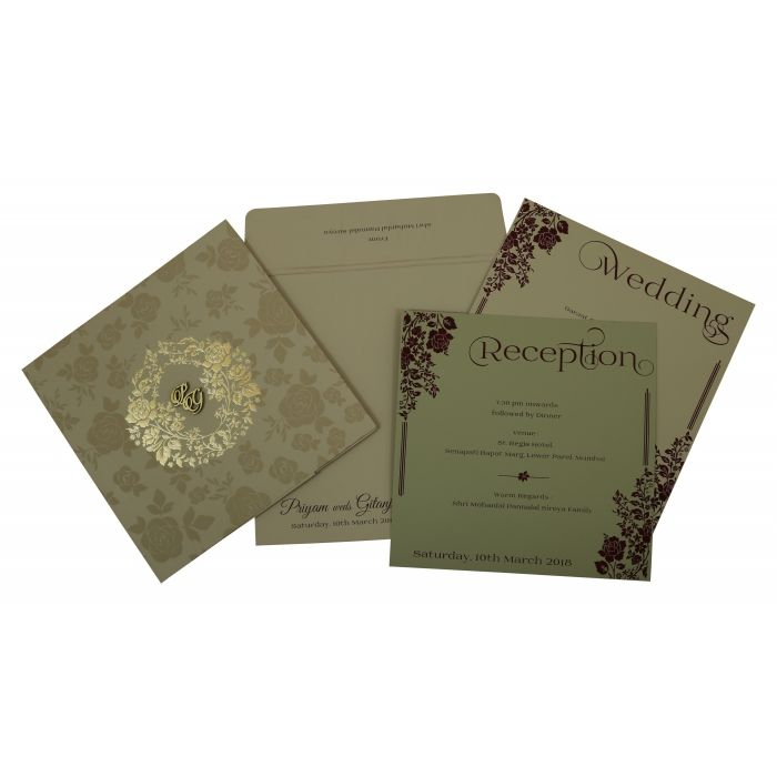 KHAKI MATTE FLORAL THEMED - FOIL STAMPED WEDDING INVITATION : CG-1805 - IndianWeddingCards