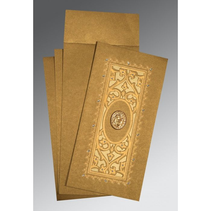 COPPER SHIMMERY EMBOSSED WEDDING CARD : CS-1440 - IndianWeddingCards