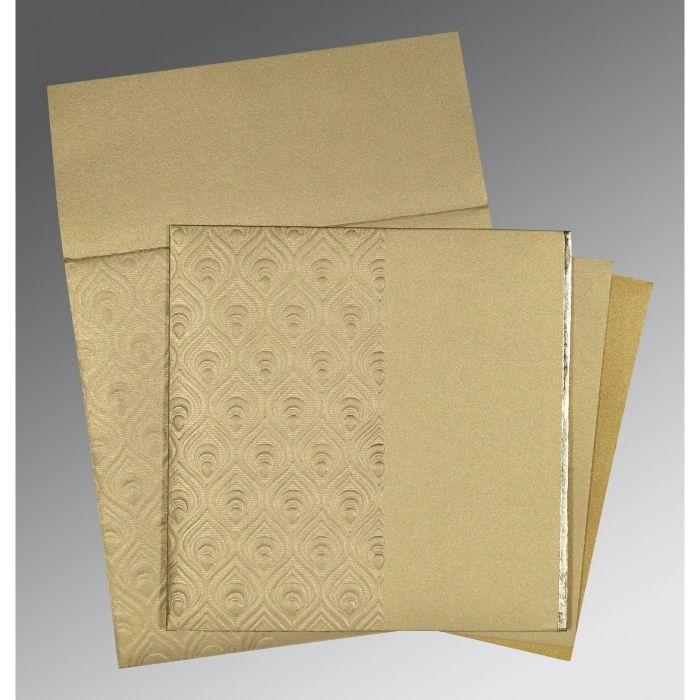 KHAKI SHIMMERY PAISLEY THEMED - FOIL STAMPED WEDDING INVITATION : D-1506 - 123WeddingCards