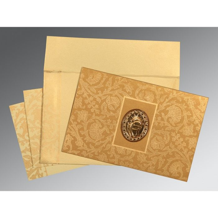 YELLOW GOLD SHIMMERY POCKET THEMED - EMBOSSED WEDDING INVITATION : CS-1434 - IndianWeddingCards