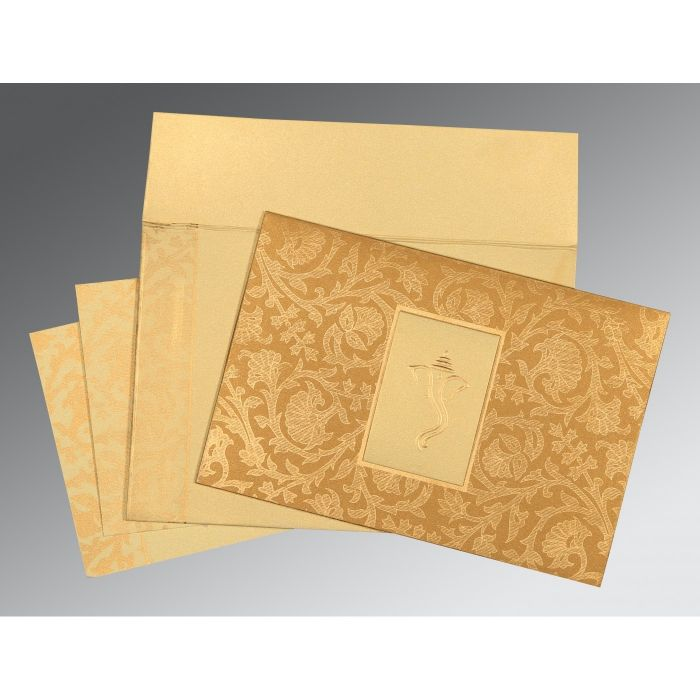 YELLOW GOLD SHIMMERY POCKET THEMED - EMBOSSED WEDDING INVITATION : CW-1434 - IndianWeddingCards