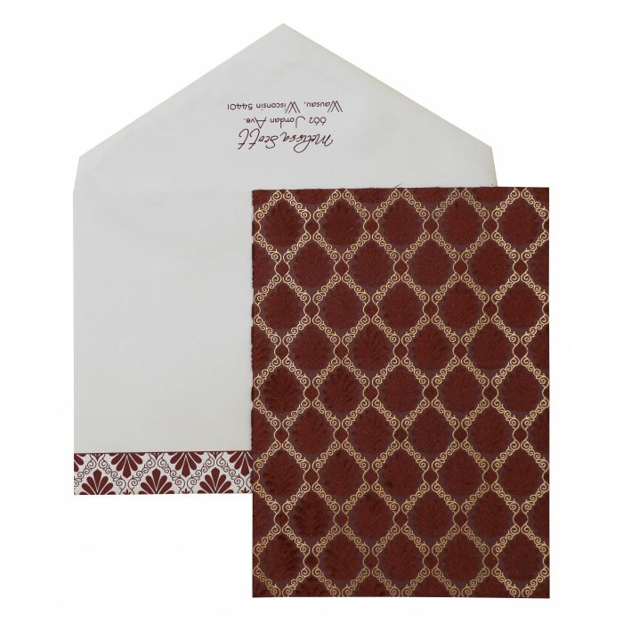 MAROON MATTE PAISLEY THEMED - SCREEN PRINTED PARTY CARDS : PY-876 - 123WeddingCards