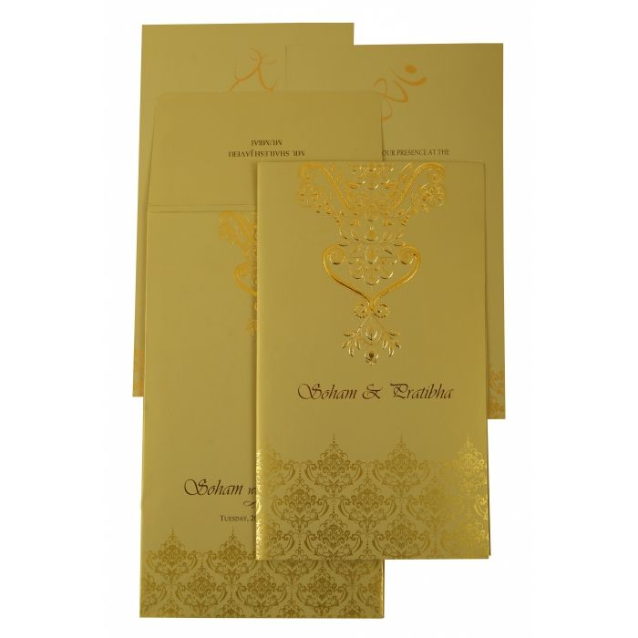 MEHNDI SHIMMERY PAISLEY THEMED - SCREEN PRINTED WEDDING INVITATION : CI-1920 - IndianWeddingCards