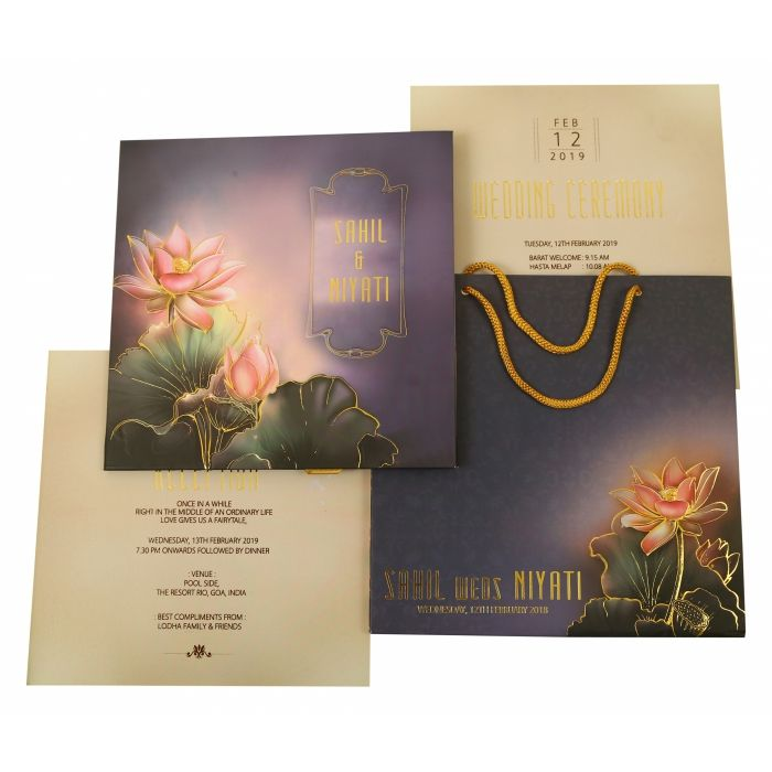 MULTI COLOR MATTE BOX THEMED - FOIL STAMPED WEDDING INVITATION : IN-1841 - 123WeddingCards