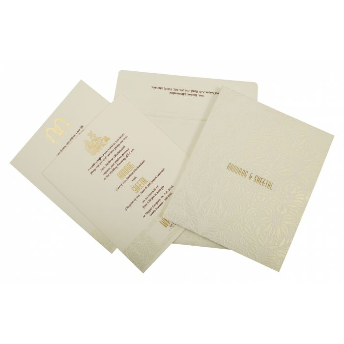 OFF-WHITE MATTE BOX THEMED - EMBOSSED WEDDING INVITATION : D-1852 - 123WeddingCards