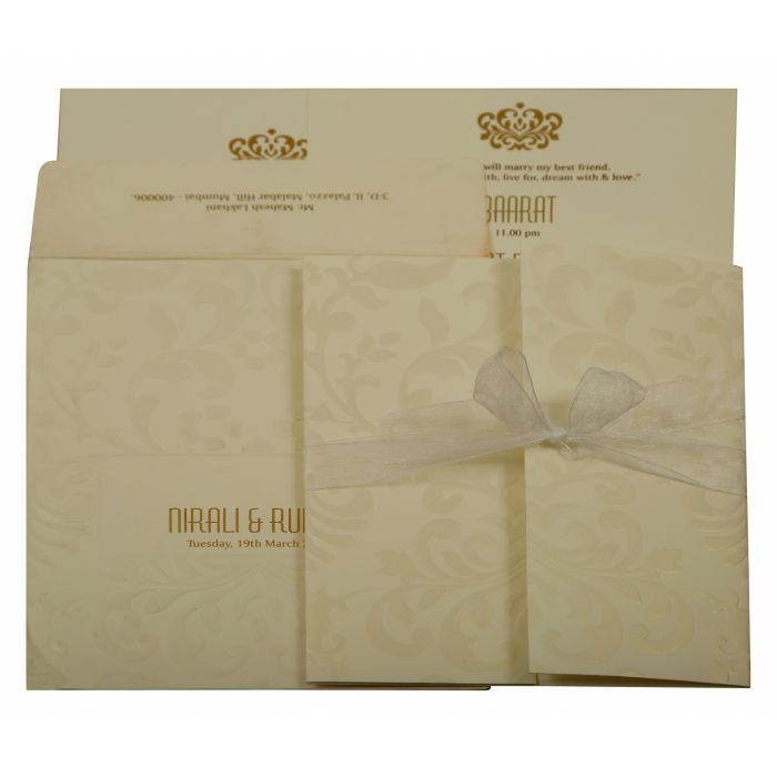 OFF-WHITE MATTE PAISLEY THEMED - EMBOSSED WEDDING INVITATION : D-1913 - 123WeddingCards