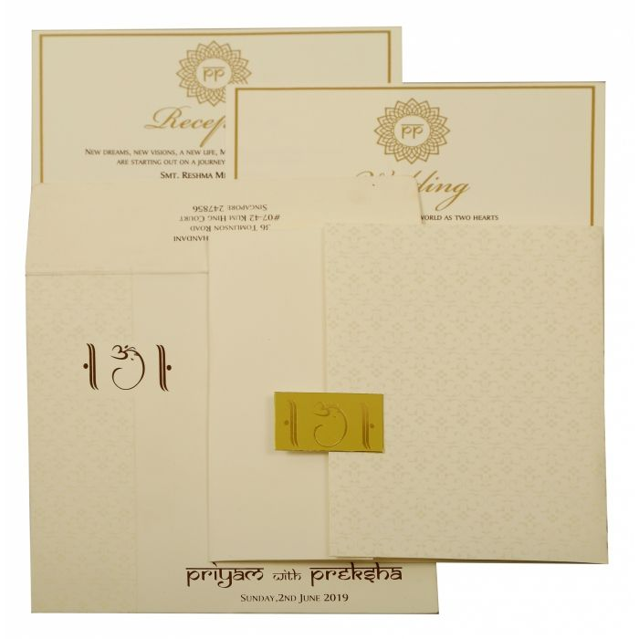 OFF-WHITE MATTE PAISLEY THEMED - SCREEN PRINTED WEDDING INVITATION : IN-1881 - 123WeddingCards