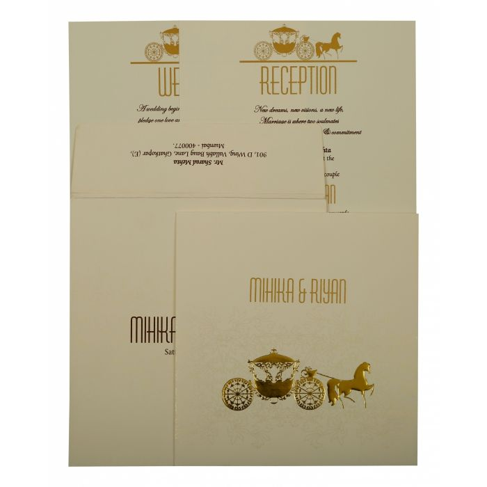 OFF-WHITE MATTE SCREEN PRINTED WEDDING INVITATION : D-1896 - 123WeddingCards