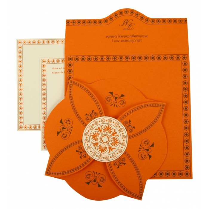 ORANGE BUTTERFLY THEMED - SCREEN PRINTED WEDDING INVITATION : D-820A - 123WeddingCards