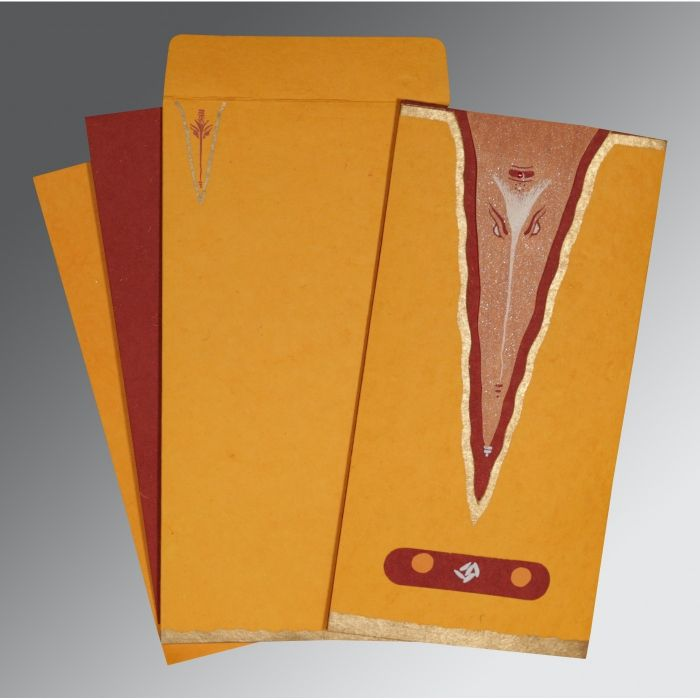 BRIGHT ORANGE HANDMADE COTTON SCREEN PRINTED WEDDING INVITATION : CW-2241 - IndianWeddingCards