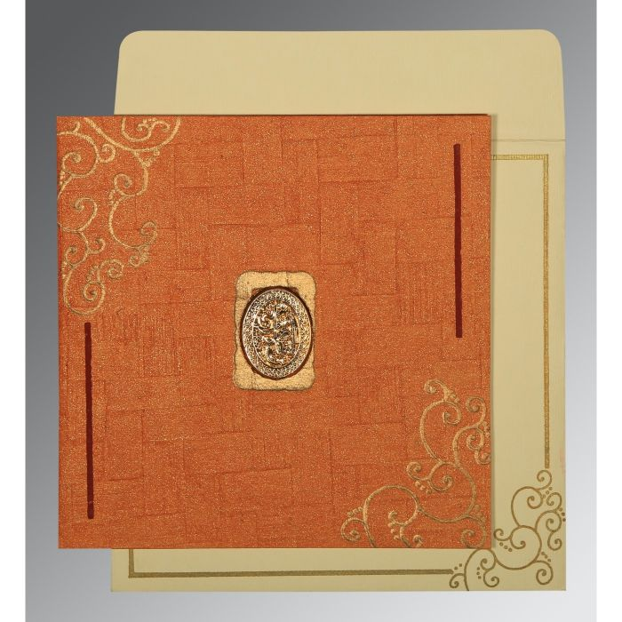 ORANGE HANDMADE SHIMMER EMBOSSED WEDDING INVITATION : I-1236 - 123WeddingCards
