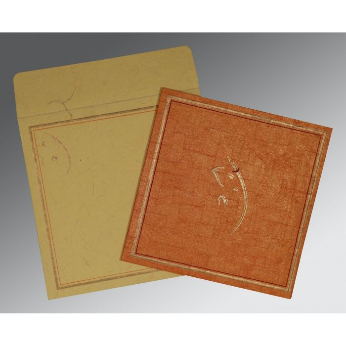 AUTUMN ORANGE HANDMADE SHIMMER EMBOSSED WEDDING INVITATION : CW-2177 - IndianWeddingCards